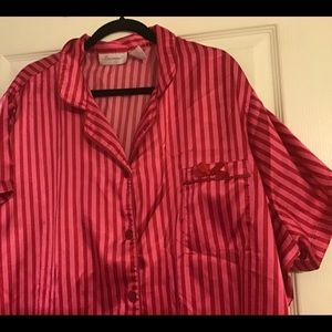Satin Plus Size Pajamas ~Pink & Red Stripes